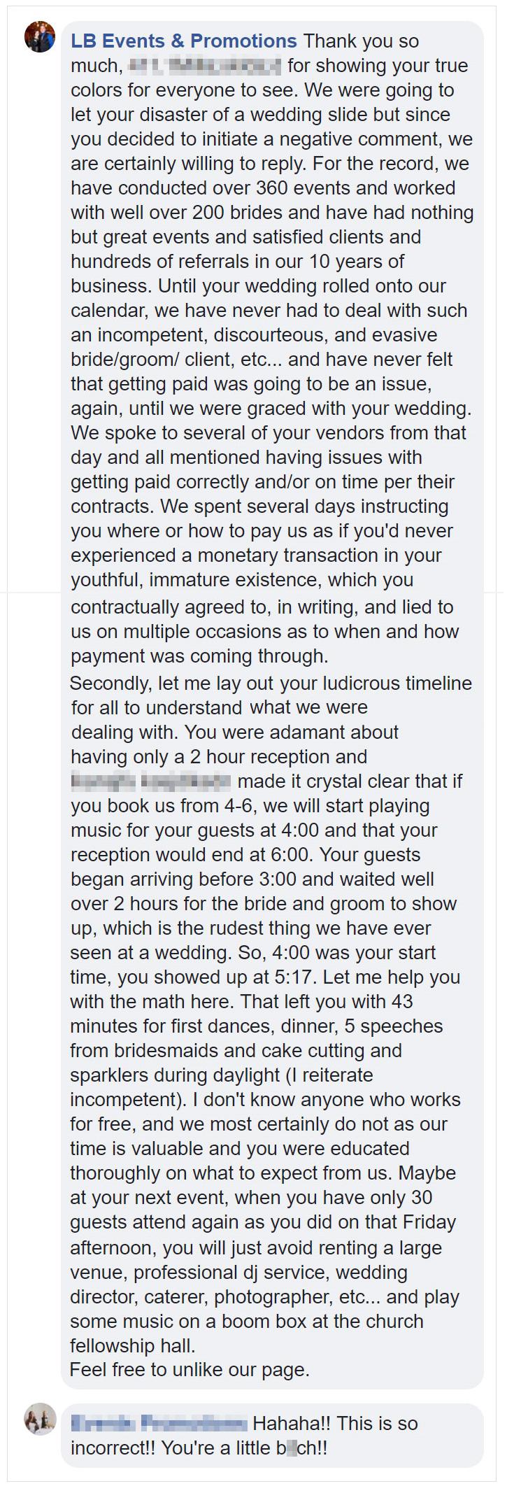 Dissatisfied Bride Gets Rude Wedding Planner Reply