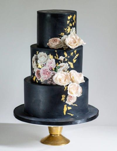Black-gold-wedding-cake-blush-sugar-roses-blue-lace-cakes